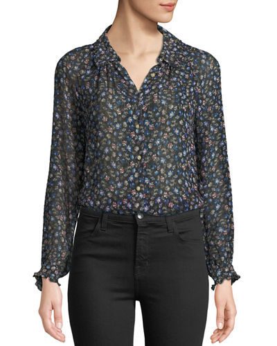 Zelma Floral Button-Front Top