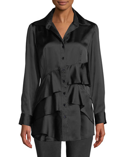 Jenna Long-Sleeve Button-Front Tiered Ruffle Satin Blouse