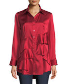 Finley Jenna Long-Sleeve Button-Front Tiered Ruffle Satin Blouse