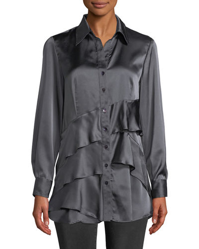 02411b9ae2b7d Quick Look. Finley · Jenna Long-Sleeve Button-Front Tiered Ruffle Satin  Blouse