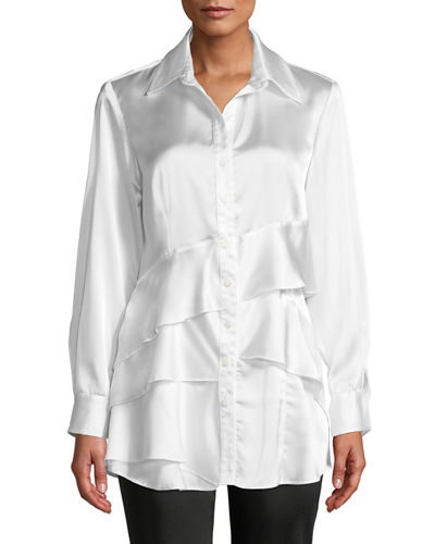 Plus Size Jenna Long-Sleeve Button-Front Tiered Ruffle Satin Blouse