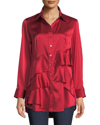 Finley Jenna Long-Sleeve Button-Front Tiered Ruffle Satin Blouse,