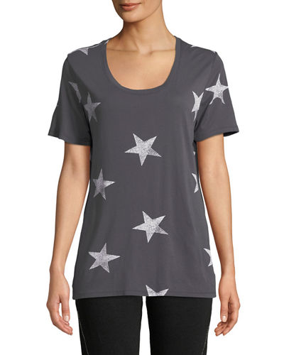 Star-Print Scoop-Neck Short-Sleeve Relaxed Shirt