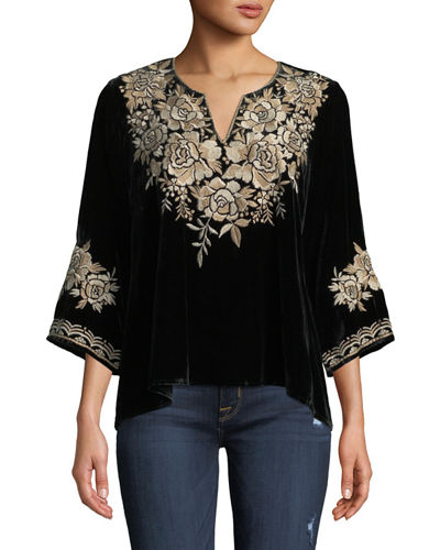 Ollena Floral-Embroidered Velvet Top, Petite