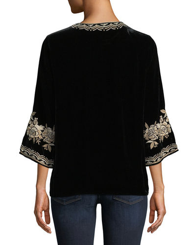 Ollena Floral-Embroidered Velvet Top, Plus Size