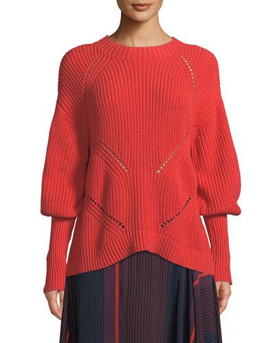Landyn Long-Sleeve Eyelet Sweater