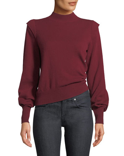 Atilla Bishop-Sleeve Wool-Cashmere Sweater