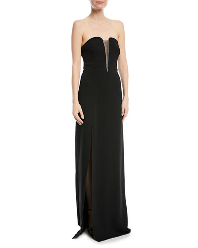 Halston Heritage Fitted Strapless Crepe Gown w/ Mesh