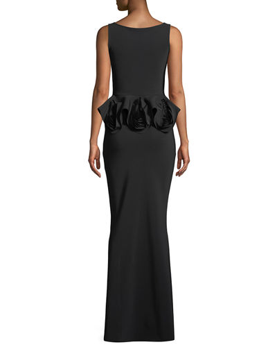 Senta Rose Peplum Sleeveless Gown