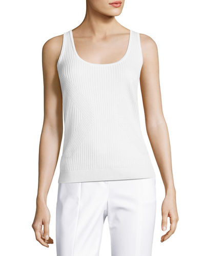 Rib-Knit Scoop-Neck Shell