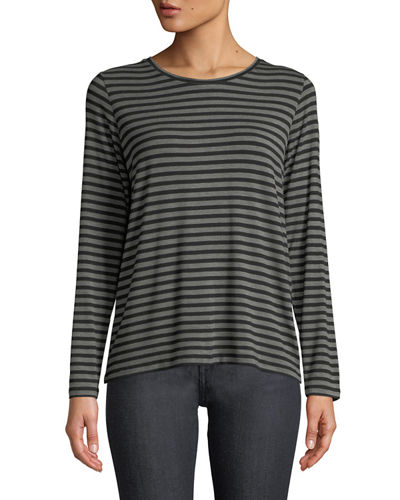 Striped Crewneck Long-Sleeve Tee with Inverted Pleat