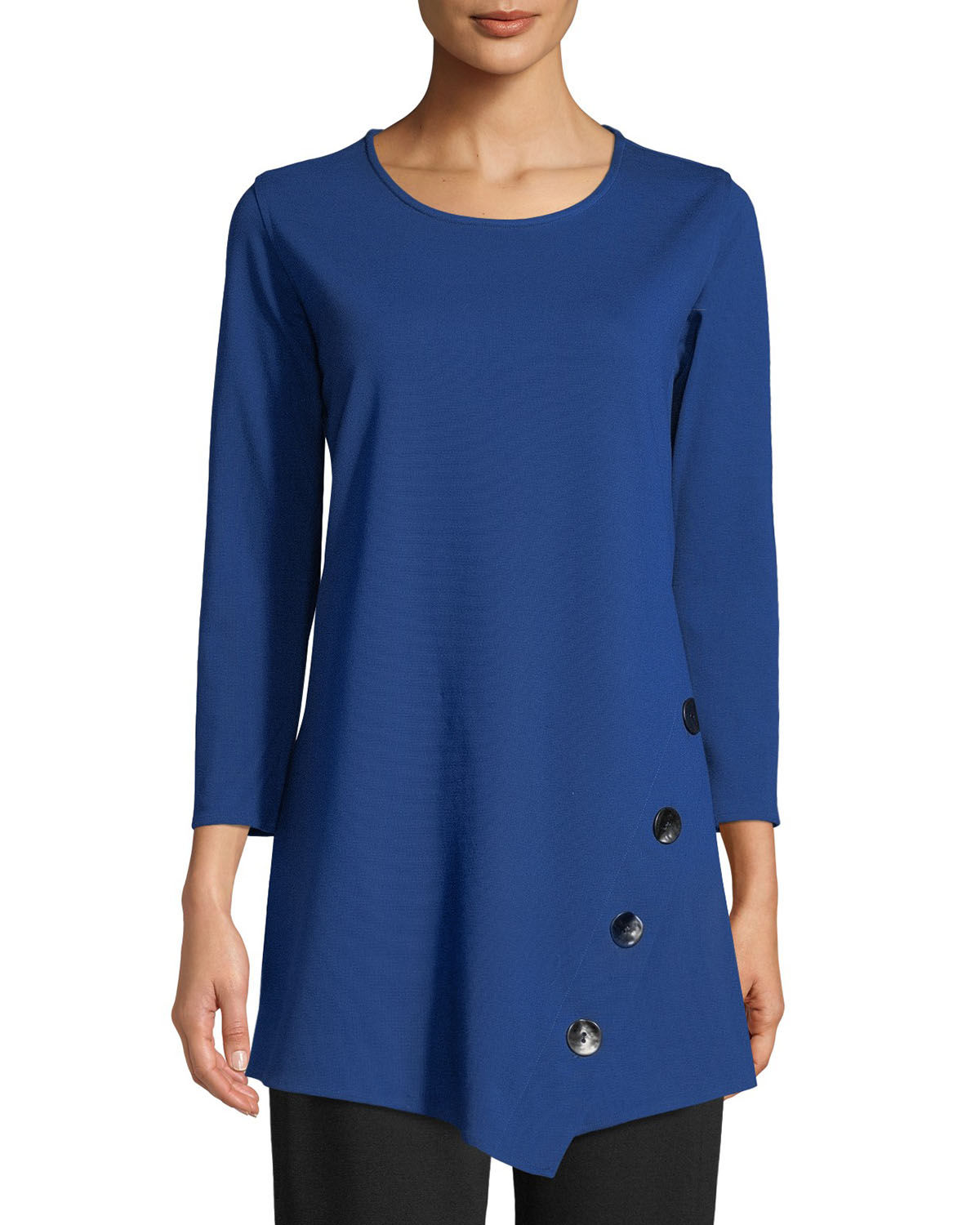 3/4-Sleeve Easy-Fit Ponte Luxe Tunic w/ Matte Metal Buttons, Plus Size