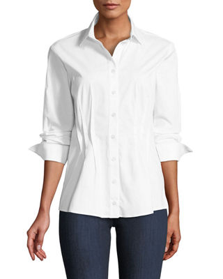 FINLEY VICTORIA BUTTON-FRONT LONG-SLEEVE FITTED BLOUSE W/DARTS & CUFF DETAIL