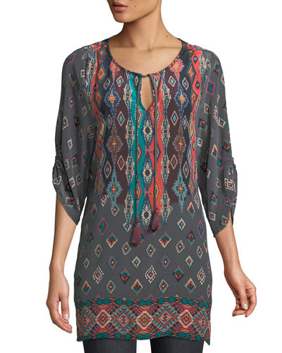 Saylor Ruched-Sleeves Batik-Print Silk Tunic Dress, Plus Size
