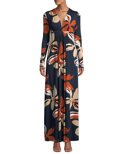 Plunging-Neck Long-Sleeve Floral-Print Jersey Long Dress, Plus Size