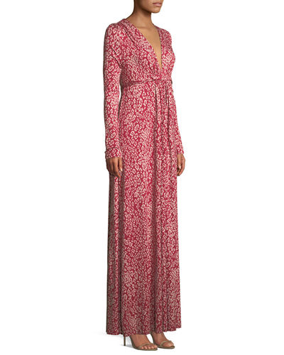 Plunging-Neck Long-Sleeve Floral-Print Jersey Long Dress