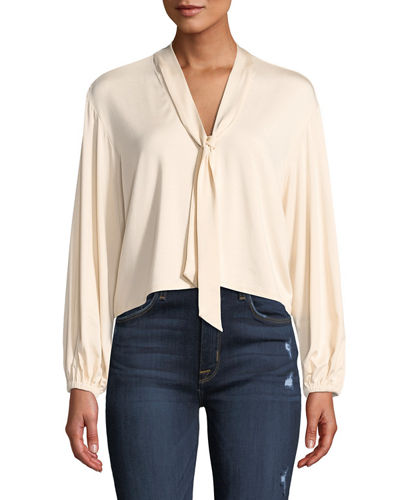Amelie V-Neck Sash Tie Long-Sleeve Cropped Jersey Top, Plus Size