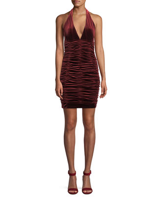 Aidan by Aidan Mattox V-Neck Shirred Velvet Body-Con