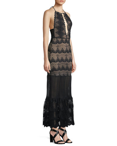 Belle Nuit Halter Gown in Lace