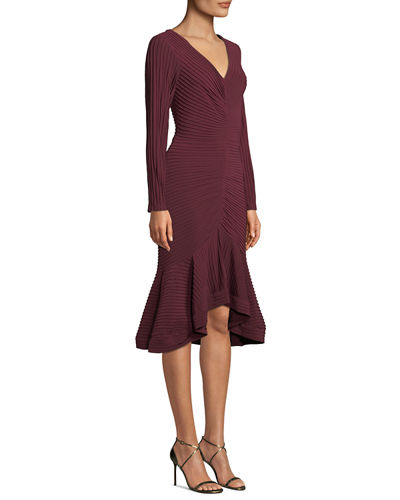 V-Neck Pintuck Jersey Dress w/ Ruffle Hem