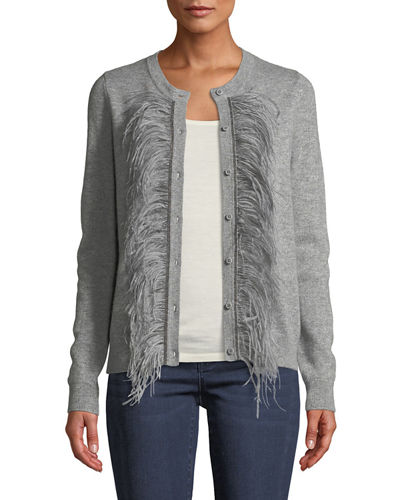 Feather-Trim Cashmere Cardigan