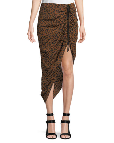 Ruched Leopard-Print Silk Pencil Skirt