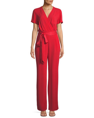 Purdy New Tie-Waist Wrap Jumpsuit in Red
