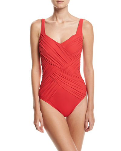 Lattice Shaped Square-Neck One-Piece Swimsuit