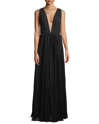 Fame and Partners Allegra Pleated Plunging V-Neck Evening