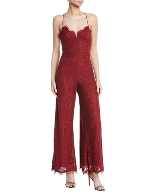 Fame and Partners Jade Corded Lace Crisscross Jumpsuit