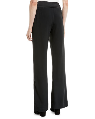 Satin-Combo Front-Slit Pants
