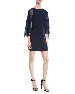 Halston Heritage Cape-Sleeve Mini Dress w/ Floral Embroidery