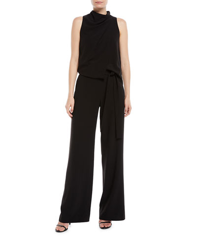 Sleeveless Draped Jumpsuit w/ Sash
