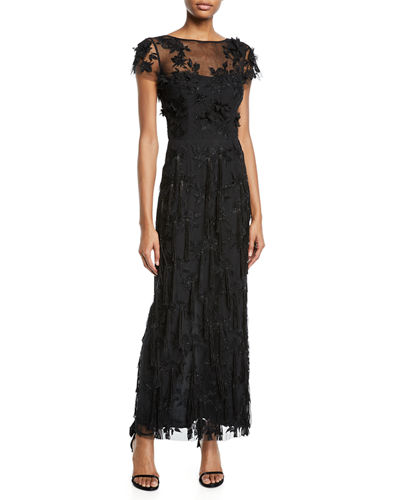 Cap-Sleeve 3-D Floral & Tassels Embroidered Long Formal Dress