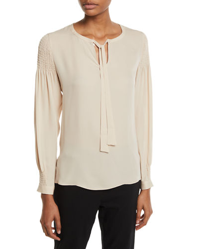 Julee Tie-Neck Long-Sleeve Silk Blouse w/ Smocking Details