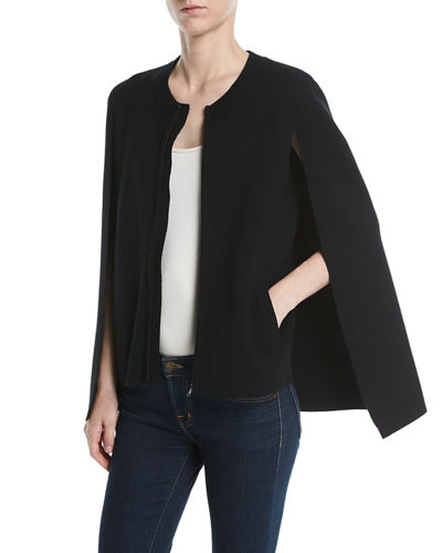 Donna Zip Cardigan Sweater w/ Cape