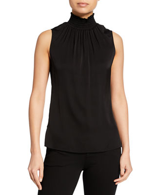 Kobi Halperin Velma Sleeveless Smock-Neck Silk Blouse