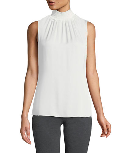 Velma Sleeveless Smock-Neck Silk Blouse