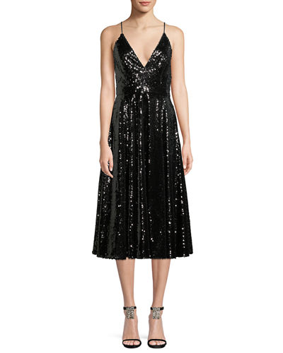 Sequin Midi Cocktail Dress w/ Full Skirt