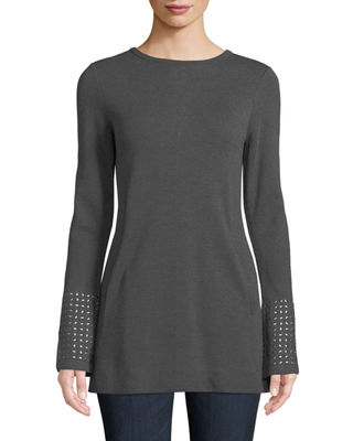 NIC + ZOE Round-Neck Long-Sleeve Grommet-Cuff Knit Top in Graphite