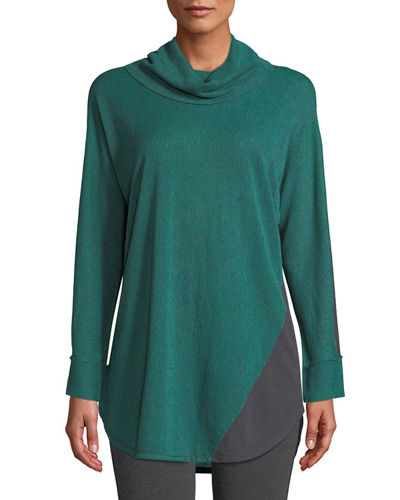 Essence Cowl-Neck Long-Sleeve Colorblocked Striped Top