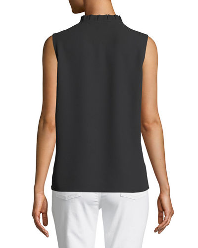 Pleated-Collar Sleeveless Blouse, Plus Size