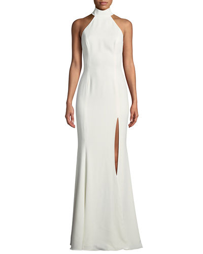 Cameo Halter Trumpet Gown w/ High Slit & Open Back
