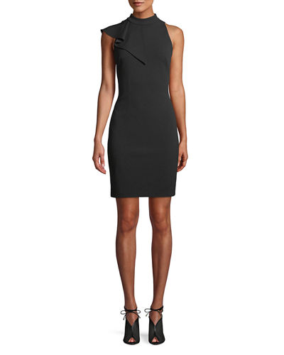 High-Neck Sleeveless Scuba Mini Cocktail Dress with Draped Ruffle Panel