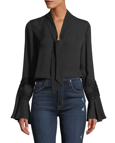 Ashlee Silk Blouse w/ Self-Tie Neck