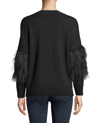 Maureen Embellished Crewneck Pullover Sweater w/ Ostrich Feathers
