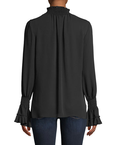 Lucca Mock-Neck Blouse in Silk
