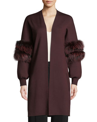 Kobi Halperin Joanna Long Cardigan Sweater with Fur Trim