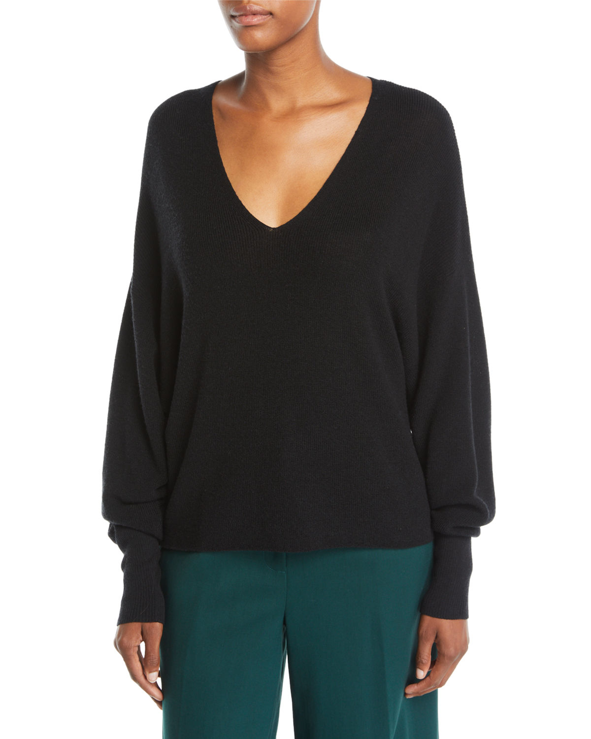 V-Neck Long-Sleeve Merino Wool Sweater, Plus Size