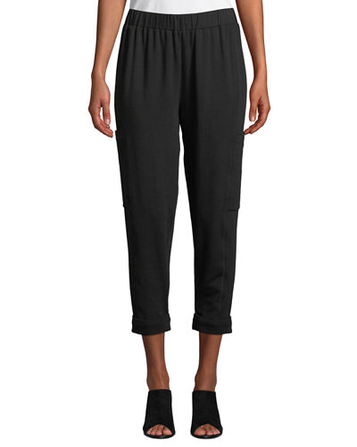 Tapered-Leg Heathered Cropped Slouch Pants, Plus Size